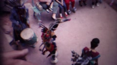 1963: Kids native american indian dancing colorful ancient costume. Stock Footage