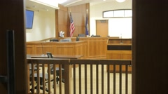 Glass Door Closes Looking Into A Courtroom Stock Footage
