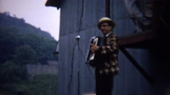 Stock Video Footage of 1962: Accordion music instrument man entertaining county fair.