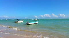 Boats floating outside the beach, in las terrenas, samana, domenican republic Stock Footage