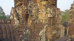 Giant stone faces at Bayon Temple, Cambodia - stock footage
