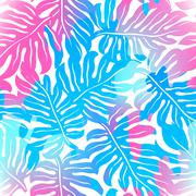 Tropical palms seamless pattern in colours Stock Illustration