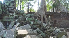 Ta Prohm temple in Angkor Wat, Cambodia, pan view - stock footage