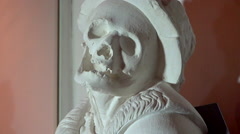 Human skull sculpture in a museum - close up, vertical panoramic Stock Footage