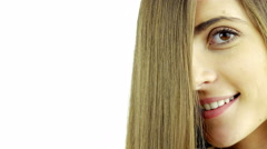 Hair commercial dolly shot towards beautiful girl with straight hair in front Stock Footage