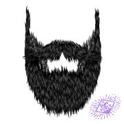 Hairy curly hipster strong beard drawing - stock illustration