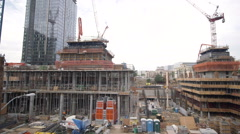 Downtown los angeles pan of major building construction site - stock footage