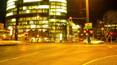 Traffic at night in Duesseldorf Stock Footage