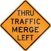 Temporary United States MUTCD road sign - Thru traffic merge left Stock Illustration