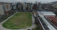 Stock Video Footage of Above a Middle and High School Complex in Downtown Quito