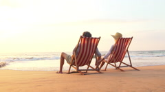 SLOW MOTION Retirement Vacation Concept, Happy Mature Retired Couple Enjoying Stock Footage