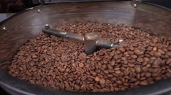 Roasted Coffee Machine Slow Motion Stock Footage