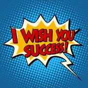 i wish you success explosion bubble retro comic book text - stock illustration