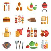 Bbq party flat icons set - stock illustration