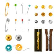 Metal Accessories Set - stock illustration