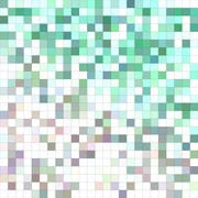 Turquoise color square mosaic background design - stock illustration