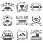 Bakery Black White Emblems Set - stock illustration