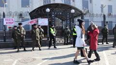 A rally in support of former Ukrainian army pilot Nadezhda Savchenko Stock Footage