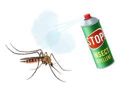 Anti mosquito spray - stock illustration