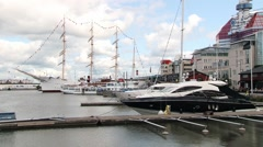 View to the yachts in the harbor in Gothenburg, Sweden. Stock Footage