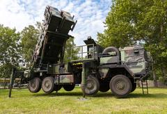 german antiaircraftrocketsystem  patriot in attack position - stock photo