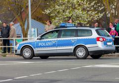 German police patrol car on the street Stock Photos