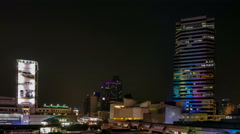 NIGHT Time lapse Top view of SiamSquare, most shopping destination in Bangkok. Stock Footage