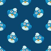 Cute Pattern With Blue Bird - stock illustration
