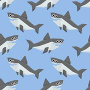 Cute Sharks Seamless Pattern Stock Illustration