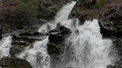 Waterfall in slow motion. The action in the forest of Carpathians mountains. Stock Footage