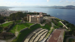 Arial view of Citadelle de St. Tropez, The Famous village of French riviera - stock footage