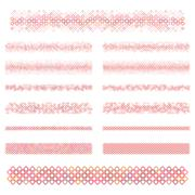Design elements - red square divider line set - stock illustration