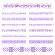 Design elements - purple divider line set - stock illustration