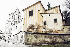 Church of the Assumption, Banska Stiavnica, Slovak republic. Illustration wit Stock Photos