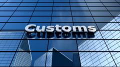 Customs building, blue sky clouds timelapse. Stock Footage