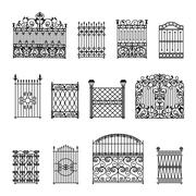 Decorative Fences Set - stock illustration