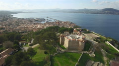 Arial view of Citadelle de St. Tropez, The Famous village of French riviera Stock Footage