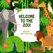 Colorful Poster With Invitation To Visit Zoo - stock illustration