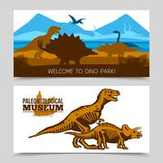 Dinosaurs Horizontal Banners - stock illustration