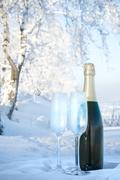 champagne on winter background - stock photo