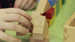 Children playing with a constructor Stock Footage