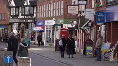Stock Video Footage of Shoppers market Stratford Upon Avon city center England 4K