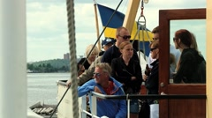 People enjoy boat excursion in Stockholm, Sweden. Stock Footage