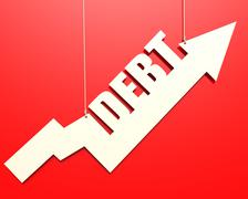 White arrow with debt word hang on red background - stock illustration