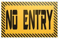 Banner with no entry word - stock illustration