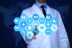 Medical doctor working with healthcare icons. Modern medical technologies - stock photo