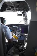 Cockpit in the plane Seychelles airlines Stock Photos