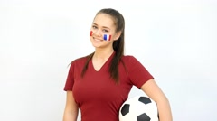 Stock Video Footage of Soccer Female with French Flag