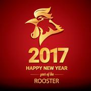 Happy Chinese new year 2017 with golden rooster Stock Illustration