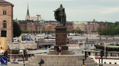 People visit king Gustav statue in Stockholm, Sweden. Stock Footage